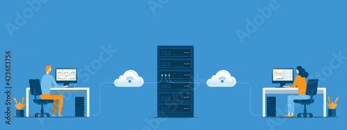 Obraz na plátně business technology cloud computing service concept and datacenter storage serve