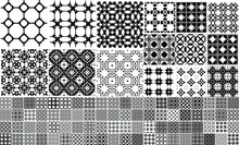 95 Universal Different Geometric Seamless Patterns. Endless Vector Texture Can Be Used For Wrapping Wallpaper, Pattern Fills, Web Background,surface Textures. Set Of Monochrome Ornaments.
