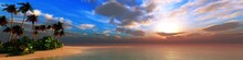 Beautiful Beach With Palm Trees At Sunset, Beautiful Seascape With Clouds At Sunrise, Ocean And Sun, 3D Rendering
