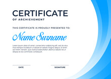 Elegant Blue Gradient Color Certificate Template, Appreciation For Business And Education.