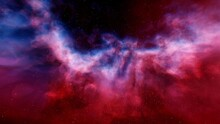 Red-violet Nebula In Outer Space, Horsehead Nebula, Unusual Colorful Nebula In A Distant Galaxy, Red Nebula 3d Render
