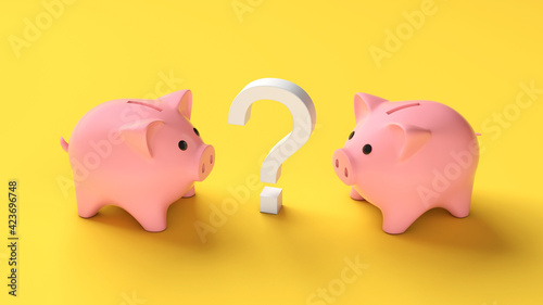 Fotografia, Obraz Two piggy banks and a question mark on a yellow background