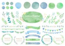 グリーンの水彩フレームセット,ベクター,葉,緑