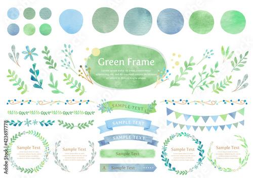 Billede på lærred グリーンの水彩フレームセット,ベクター,葉,緑