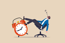 Afternoon Slump, Laziness And Procrastination Postpone Work To Do Later, Boredom And Sleepy Work Concept, Businessman Sleeping Lay Down On Office Chair And Alarm Clock Covered His Face With Book.