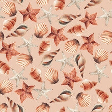 Oceanic Seamless Pattern With Shells On Summer Background. Template Design For Textiles, Interior, Clothes, Wallpaper. Watercolot Illustration.