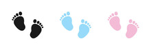Set Of Vector Illustrations Of Baby Steps - Pairs Of Black, Pink And Blue Footprints In A Flat Styl