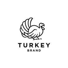 Turkey Bird Logo Line Icon Design Illustration In Trendy Minimal Outline Hipster Abstract Style, Turkey For Livestock Logo Identity. Giant Avian Mascot Concept For Animal Husbandry Icon