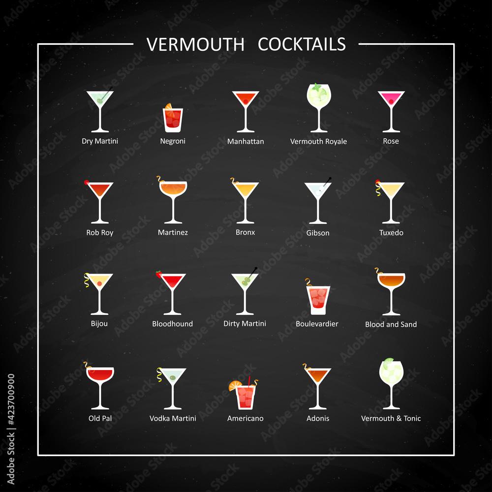 Fototapeta Vermouth cocktails flat icons on on black chalkboard. Vector - obraz na płótnie