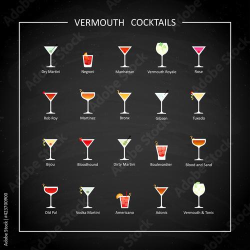 Fototapeta Vermouth cocktails flat icons on on black chalkboard. Vector obraz na płótnie