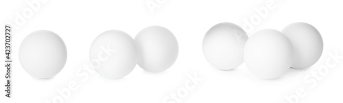 Billede på lærred Set with ping pong balls on white background. Banner design