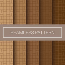 Editable Seamless Geometric Pattern Tile With Natural Wood Color Background Collection