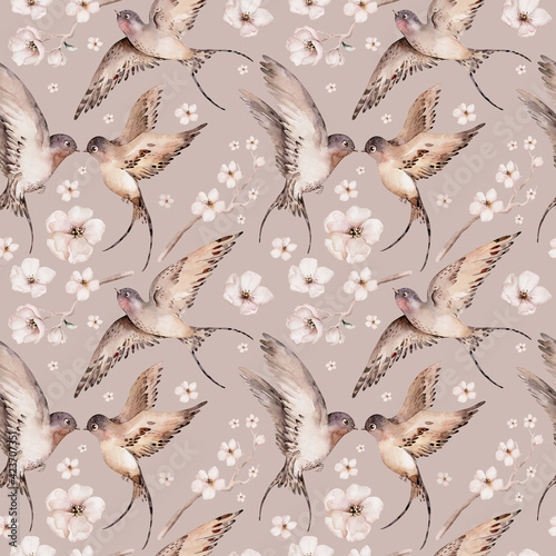 Obraz Watercolor spring flying swallows isolated and blossom flowers seamless pattern fabric background - fototapety do salonu