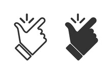 Like Easy Vector Icon. Snap Finger Icons,isolated. Flicking Fingers. Popular Gesturing Or Symbols. Vector Illustration