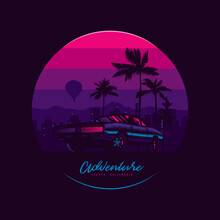 Original Vector Illustration In Vintage Style. Bright Design In The Spirit Of The 80-90 Years. Retro Car On The Background Of The Night City, Palm Trees And Mountains.