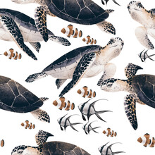 Oceanic Seamless Pattern With Turtles On Summer Background. Template Design For Textiles, Interior, Clothes, Wallpaper. Watercolot Illustration.