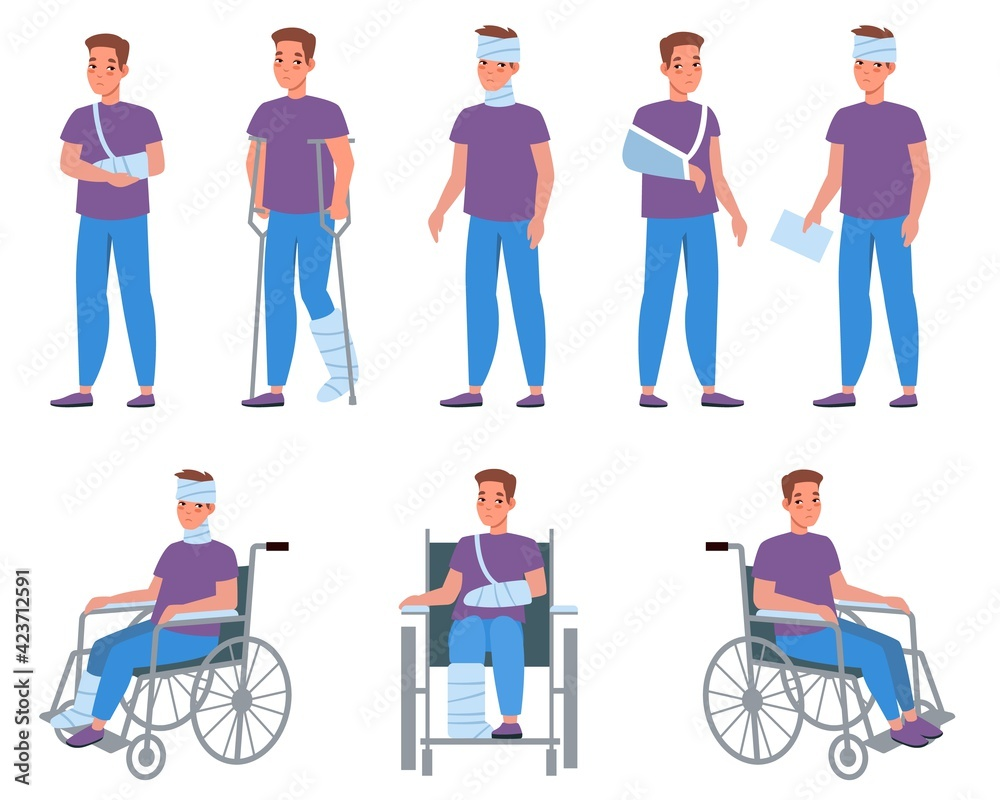 Fototapeta Man with injury. Guy with bandage and plaster, injuries and wounds, arms and legs fractures, medical treatment and fixation of broken bones. Male character on wheelchair vector cartoon set