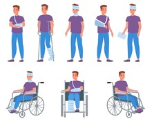 Man With Injury. Guy With Bandage And Plaster, Injuries And Wounds, Arms And Legs Fractures, Medical Treatment And Fixation Of Broken Bones. Male Character On Wheelchair Vector Cartoon Set