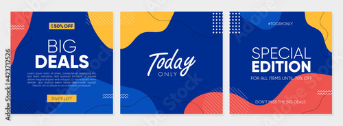 Fototapeta Sale square banner template for social media post, feed, banners design, web or internet advertisment. Trendy abstract square template with colorful concept. obraz