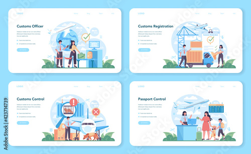 Obraz Customs officer web banner or landing page set. Passport control - fototapety do salonu