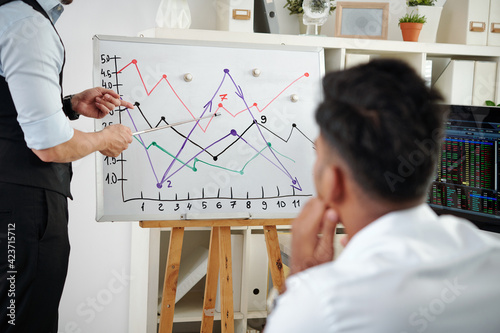 Young man attending lection on stock market trading and looking at broker pointing at whiteboad with line chart