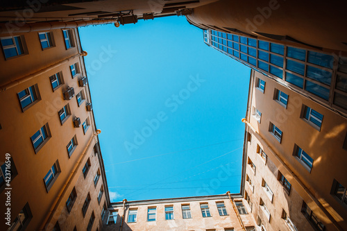 Canvas View of the geometry of the sky from the enclosed courtyard of the well house