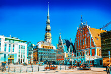 Town Hall Square (Latvian Ratslaukums) Is One Of The Central Squares Of Riga, Located In The Old Town.