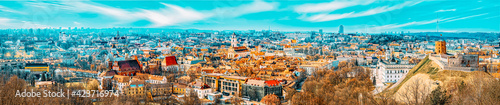 Fototapeta View of Vilnius from the hill of Three Crosses point of view to the  Vilnius City. obraz