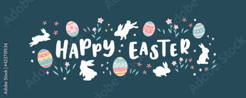 Fototapeta Lovely hand drawn Easter design, cute bunnies and colorful eggs, beautiful flowers, fun template for greeting cards, invitations, banners, wallpapers - vector design obraz