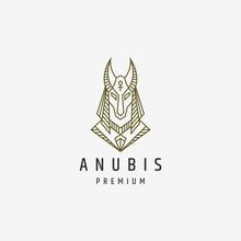 Luxurious Anubis Mono Line Logo Icon Design Template Vector Illustration