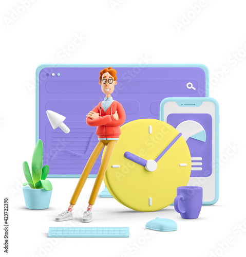 3d illustration. Nerd Larry with interface. Time management concept.