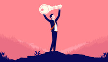 Key To Success - Man Holding Key Over Head, Metaphor For Having A Successful Career. Vector Illustration.