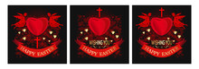 Greeting Card Set For Easter. Angels Are Holding Big Red Heart. Greeting Inscription - Happy Easter On The Background Of Red Hearts. Vector Illustration