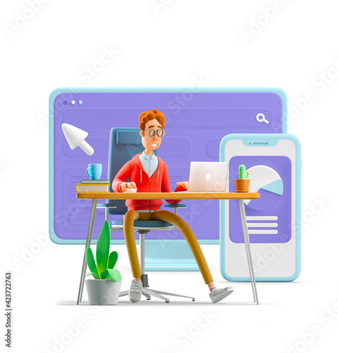 3d illustration. Nerd Larry with interface. Workspace concept.
