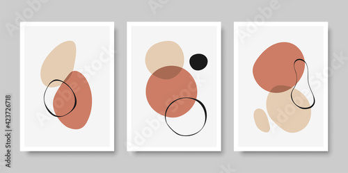 Fototapeta Minimalist design poster with abstract organic shapes composition in trendy contemporary collage style, can be used for art gallery, wall art decoration, interior design. Vector illustration. obraz na płótnie