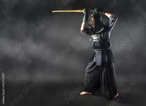 Tela Kendo master standing in fighting stance.