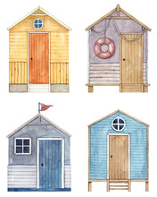 Set Of Hand Painted Watercolor Beach Tiny Houses. Cute Huts Collection