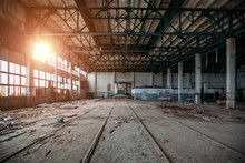 Old Abandoned Large Industrial Hall. Empty Warehouse