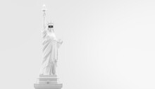 VR Headset, Future Technology Concept Banner. 3d Render Of The White Statue Of Liberty, Usa, Woman Wearing Virtual Reality Glasses On White Background. VR Games. Thanks For Watching