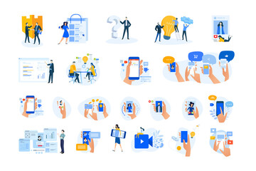 Set of modern flat design people icons. Vector illustration concepts of networking, online communication, business, technology, shopping, ebanking, security, project management, mobile app and service
