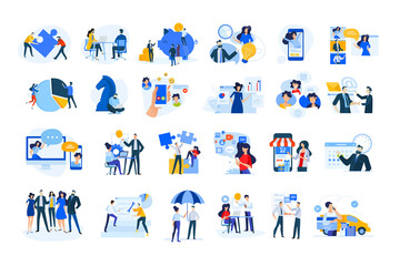 Set of modern flat design people icons of finance and banking, business strategy and planning, ecommerce and delivery, vodeo calling, online meeting, teamwork, digital marketing, consulting, startup