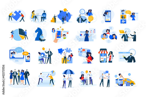 Obraz Set of modern flat design people icons of finance and banking, business strategy and planning, ecommerce and delivery, vodeo calling, online meeting, teamwork, digital marketing, consulting, startup - fototapety do salonu