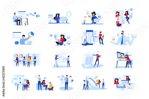 Obraz Set of modern flat design people icons  of business analytics and planning, video and conference call, business app, seo, market research, online support, accounting, data analysis, teamwork. - fototapety do salonu