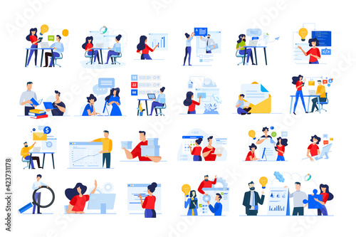 Obraz Set of modern flat design people icons of distance education, web development, cloud computing, project development, task management, online marketing, technology, technical support, startup, business - fototapety do salonu