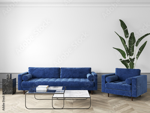 Fototapeta Classic white interior with blue sofa and armchair, decor, coffee table and plants. 3d render illustration mock up. obraz