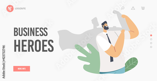 Obraz Business Heroes Landing Page Template. Businessman Character Demonstrate Muscles with Shadow in Superhero Cloak - fototapety do salonu