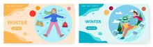 Winter Activities Landing Page Design, Website Banner Vector Template Set. Happy Girl Making Snow Angel, Boy Sledding.
