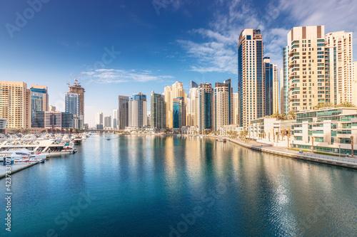 Panoramic citiscape view of the neighborhood of the Dubai Marina area with skysc Fototapeta