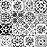 Fototapeta Kuchnia - Portuguese Azulejo tile seamless vector pattern, Lisbon geometric and floral black and white retro tiles design collection