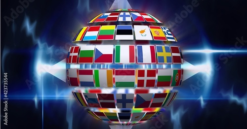 Composition of globe formed with national flags on glowing blue background